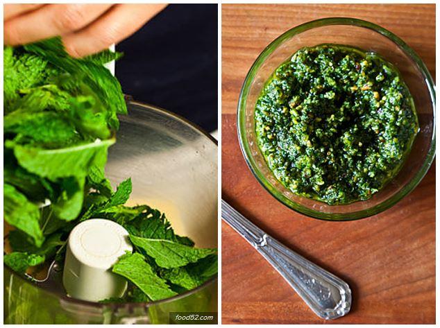 recettes sauce pesto à la menthe