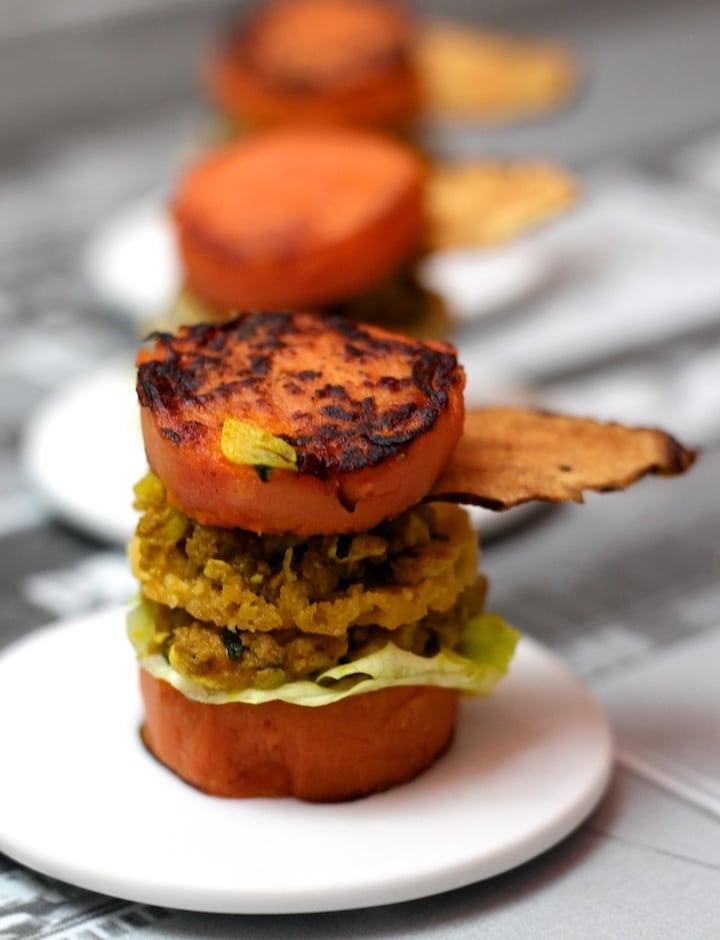 Recette du Hamburger revisité aux patates douces et au topinambour