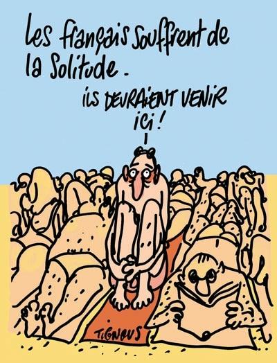 Charlie Hebdo - Dessin satirique vacances solitude francais