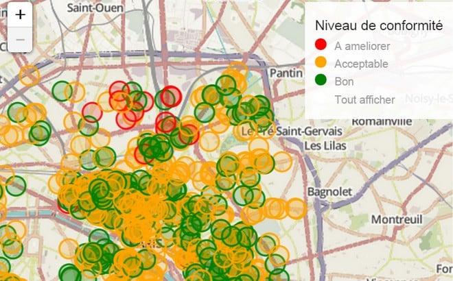 Plan interactif des résultats des contrôles sanitaires