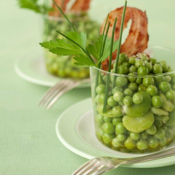 verrines de petits pois et fèves, facile et pas cher