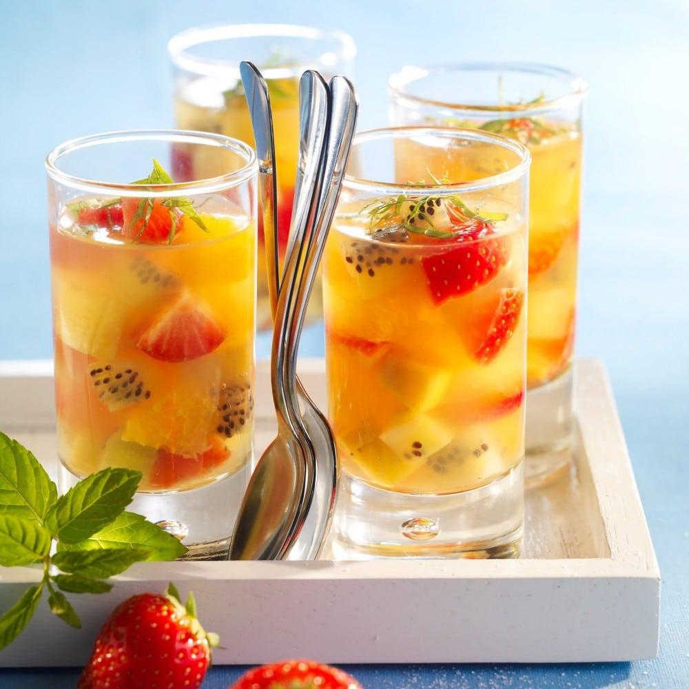 verrines de fruits au champagne