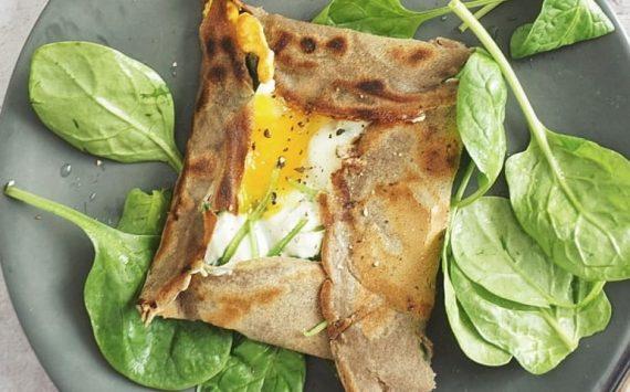 Galette de sarrasin healthy aux œufs et aux épinards (recette facile⭐)