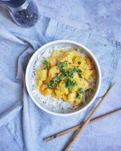 crevettes sautées ananas et lait de coco recette