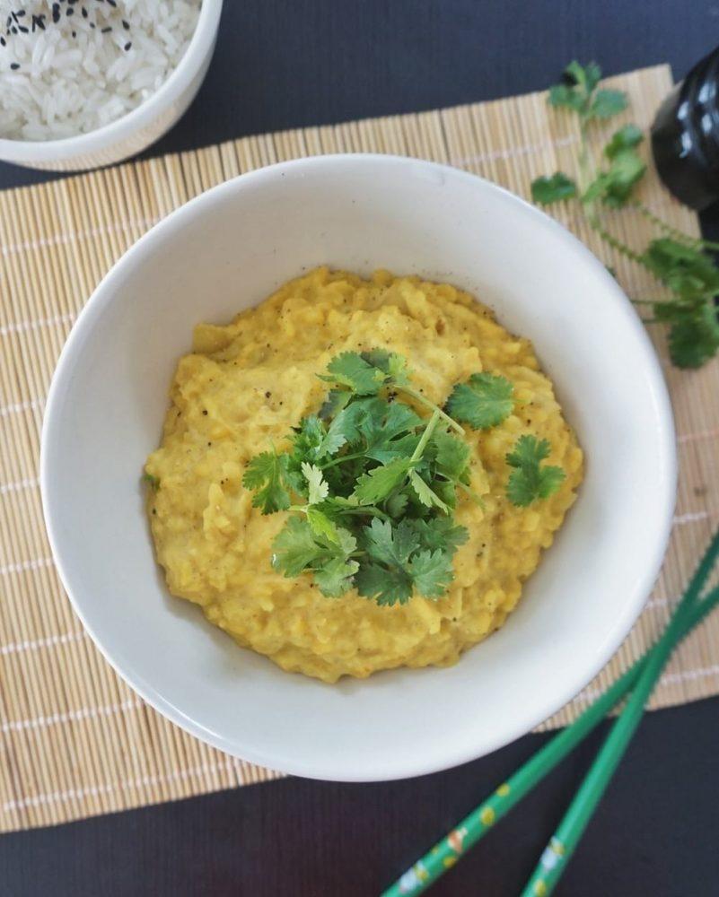 dhal lentilles jaunes curry coco recette