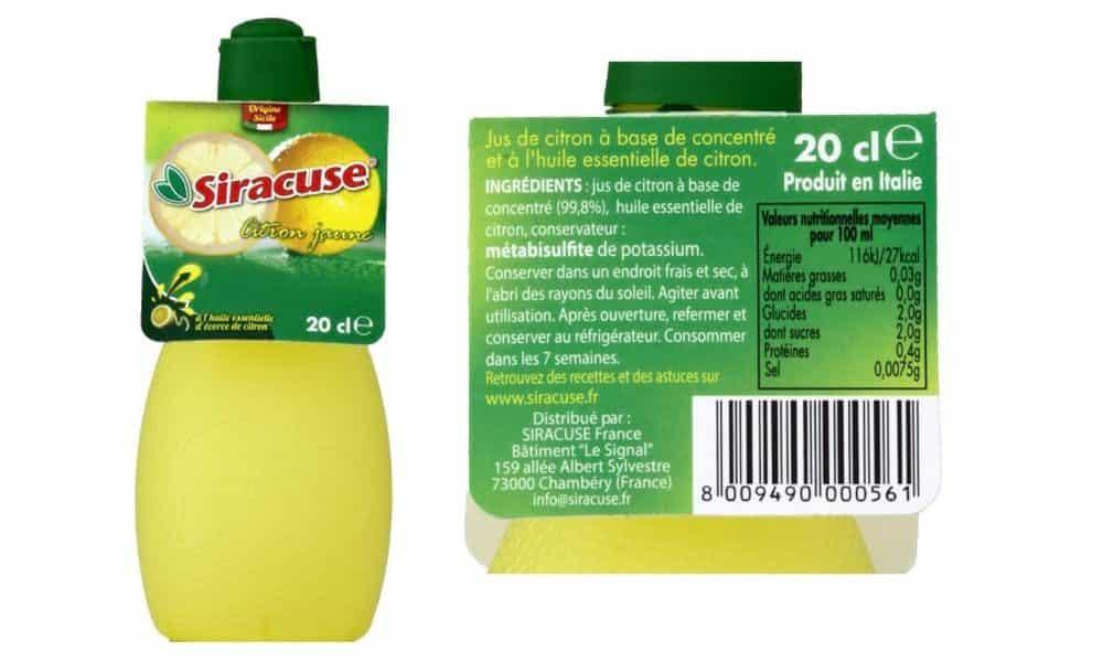 jus de citron en bouteille siracuse avis