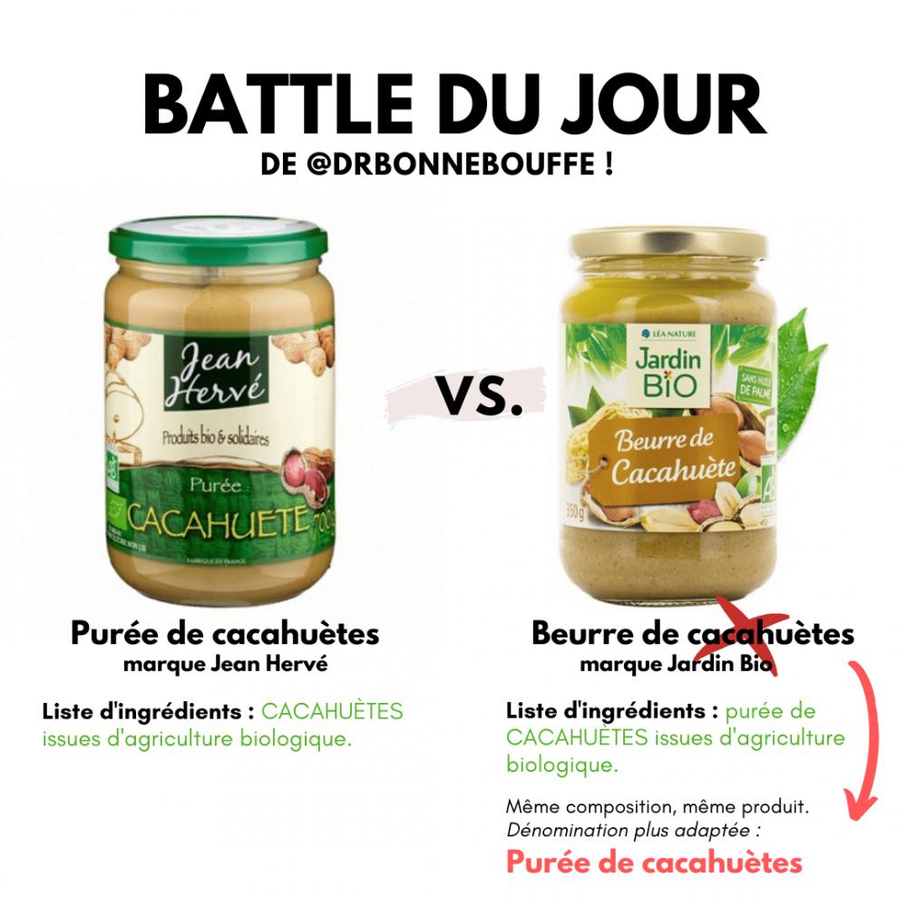 purée ou beurre de cacahuètes terminologies étiquettes