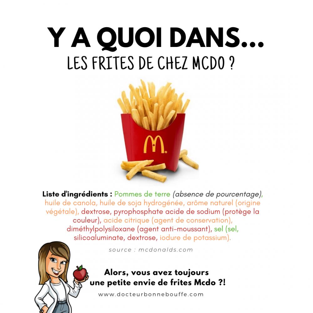 frites mcdonalds liste d'ingrédients décryptée