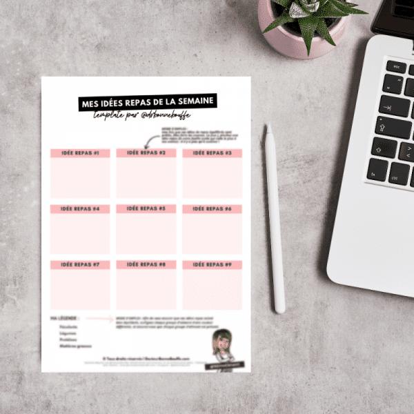 idées repas de la semaine template pdf à télécharger